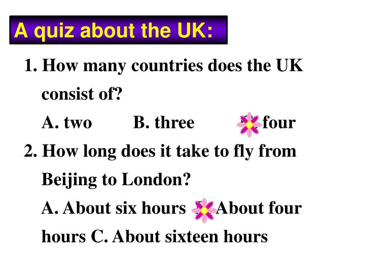 A quiz about the UK: