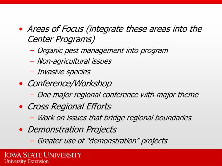 Areas of Focus (integrate these areas into the Center Programs)