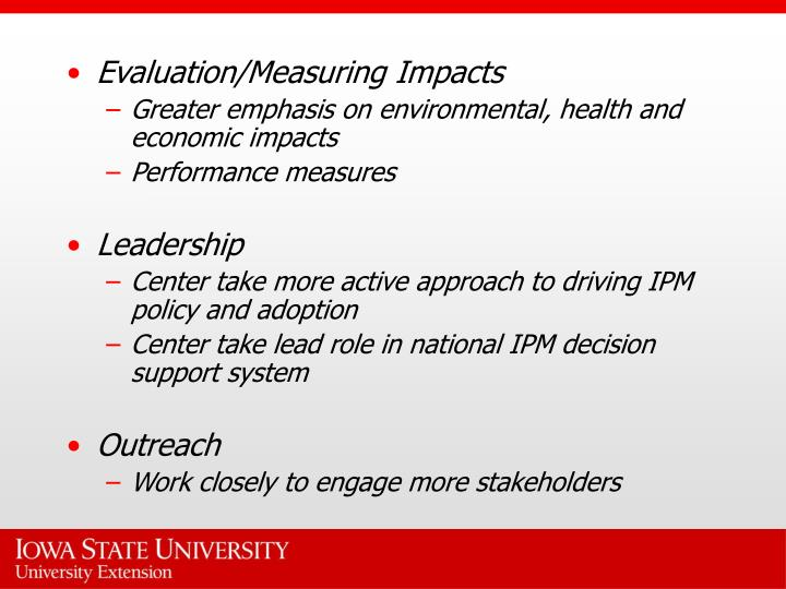 Evaluation/Measuring Impacts