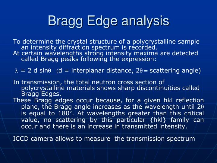 Bragg Edge analysis