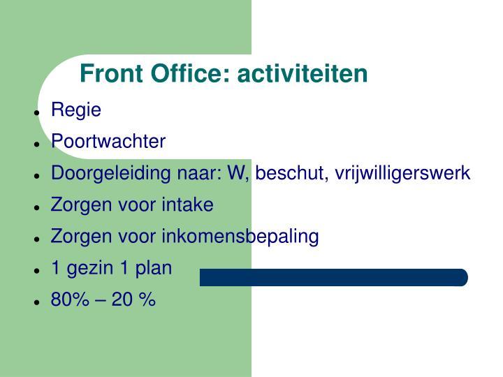 Front Office: activiteiten
