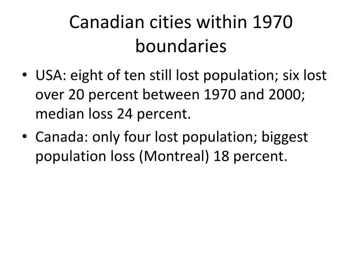 Canadian cities within 1970 boundaries