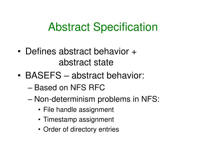 Abstract Specification