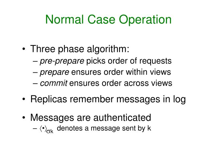 Normal Case Operation
