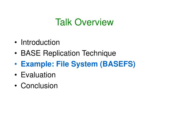 Talk Overview