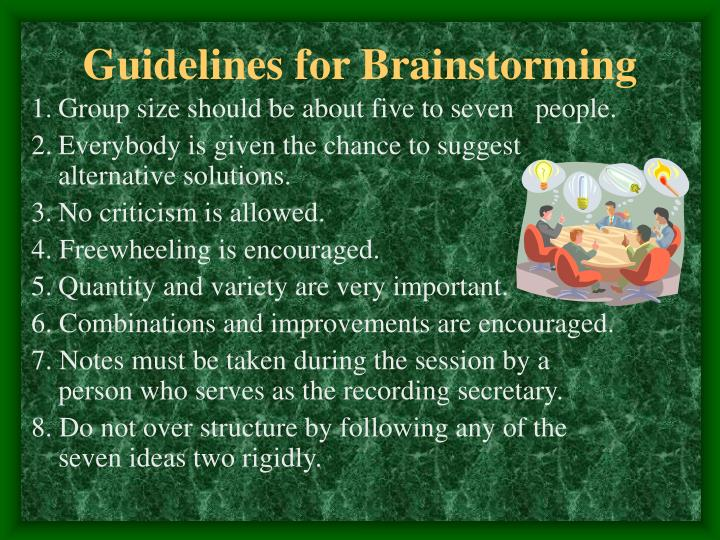 Guidelines for Brainstorming