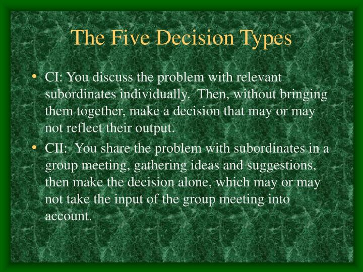 The Five Decision Types