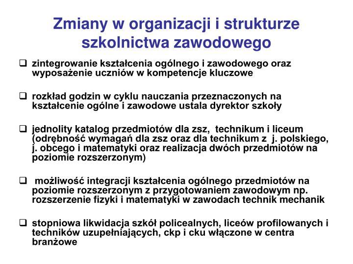 Zmiany w organizacji i strukturze szkolnictwa zawodowego