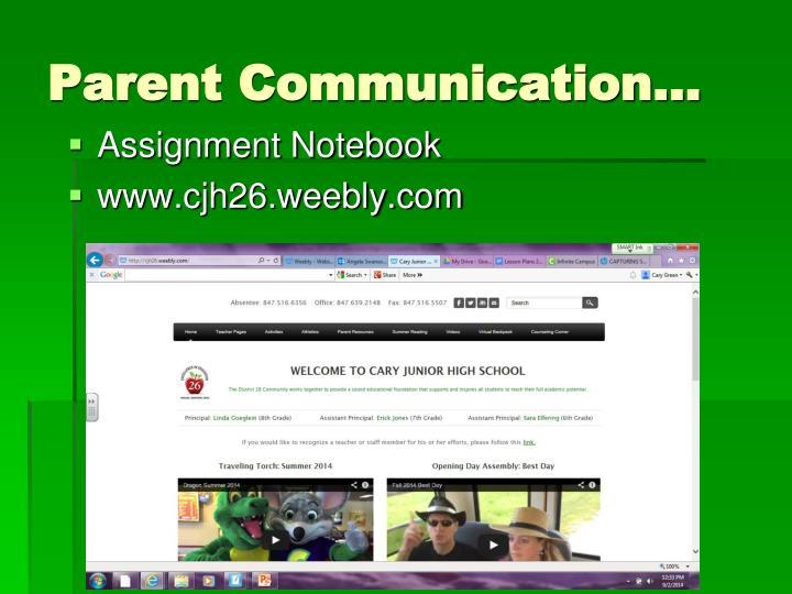 Parent Communication…