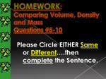 homework comparing volume density and mass questions 5 10