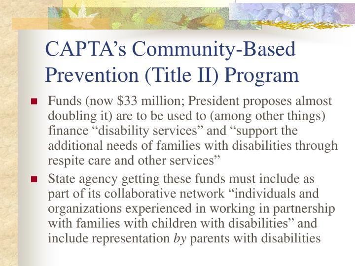 CAPTA's Community-Based Prevention (Title II) Program