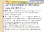 several examples of innovative state legislation
