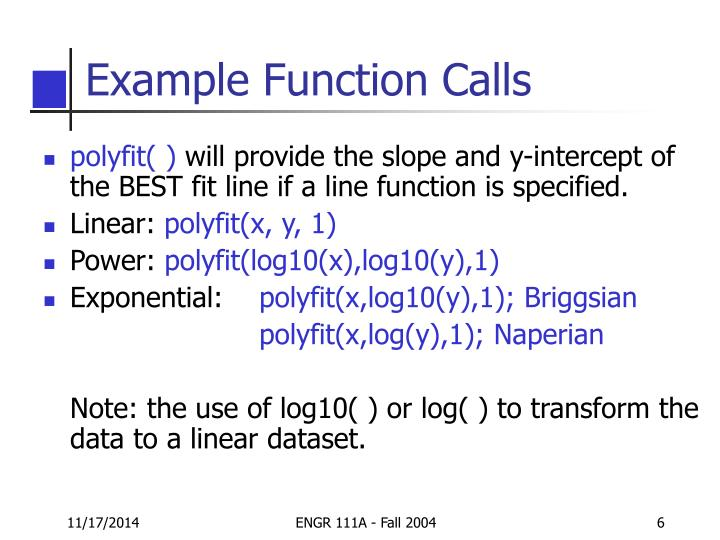 Example Function Calls