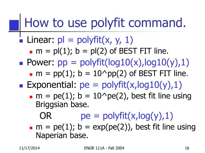How to use polyfit command.