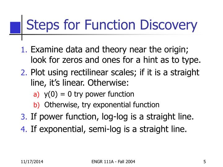 Steps for Function Discovery