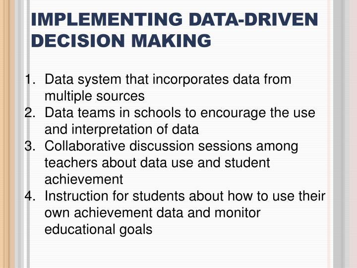 IMPLEMENTING DATA-DRIVEN DECISION MAKING