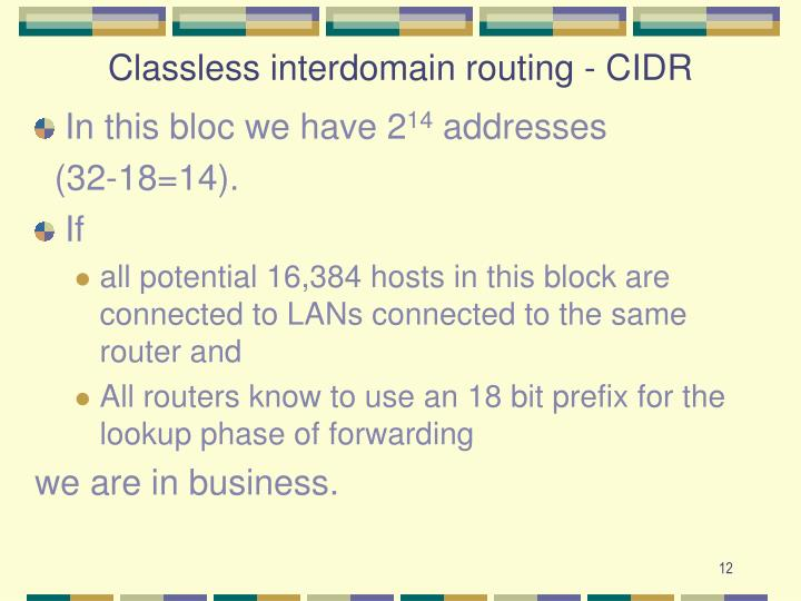 Classless interdomain routing - CIDR