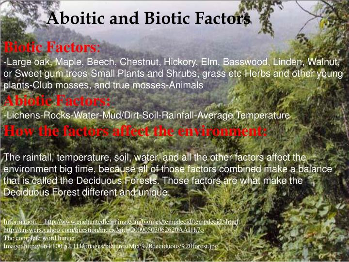 Aboitic and Biotic Factors
