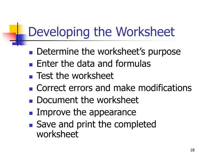 Developing the Worksheet