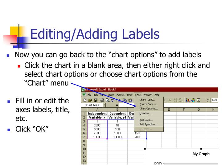 """Now you can go back to the """"chart options"""" to add labels"""