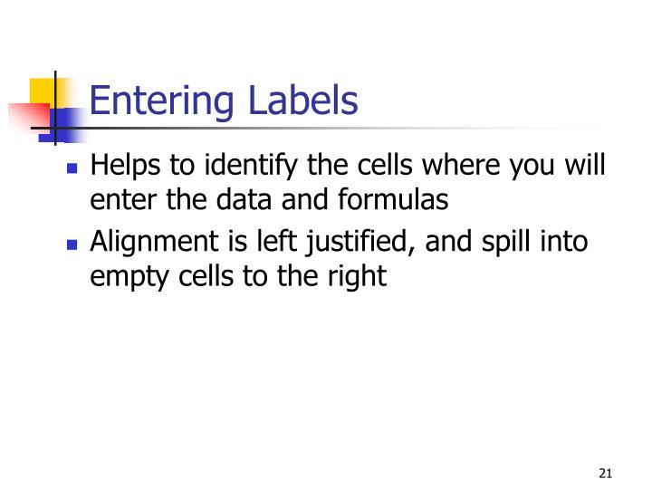 Entering Labels