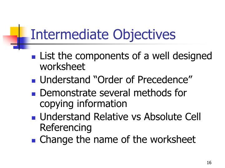 Intermediate Objectives