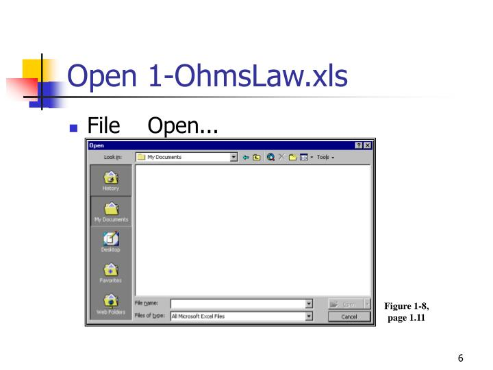 Open 1-OhmsLaw.xls