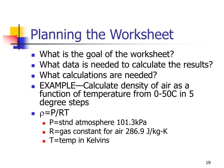 Planning the Worksheet