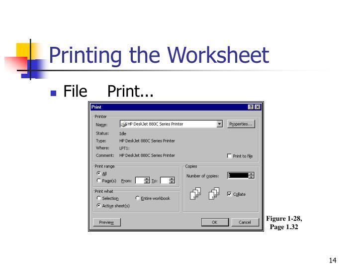 Printing the Worksheet
