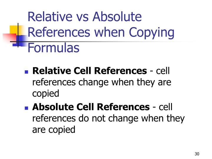Relative vs Absolute References when Copying Formulas