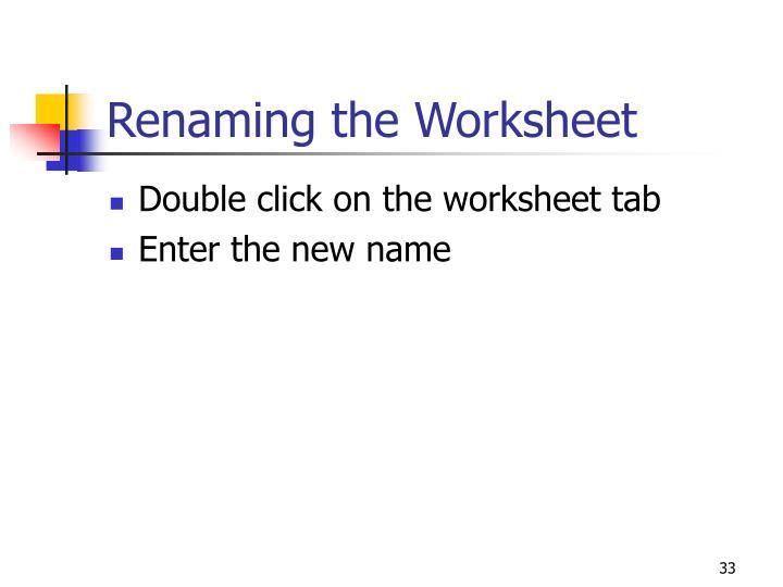 Renaming the Worksheet