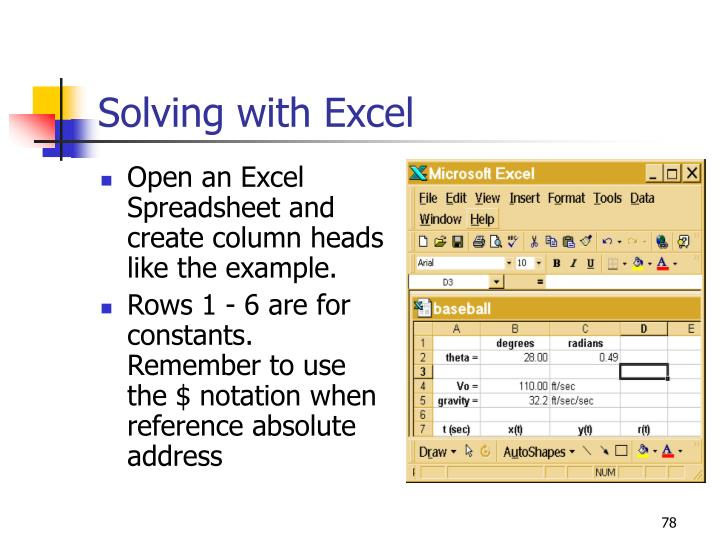 Solving with Excel