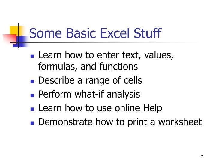 Some Basic Excel Stuff