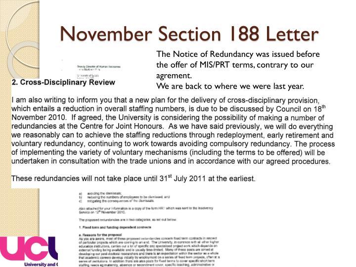 November Section 188 Letter