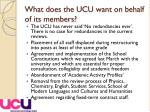 what does the ucu want on behalf of its members