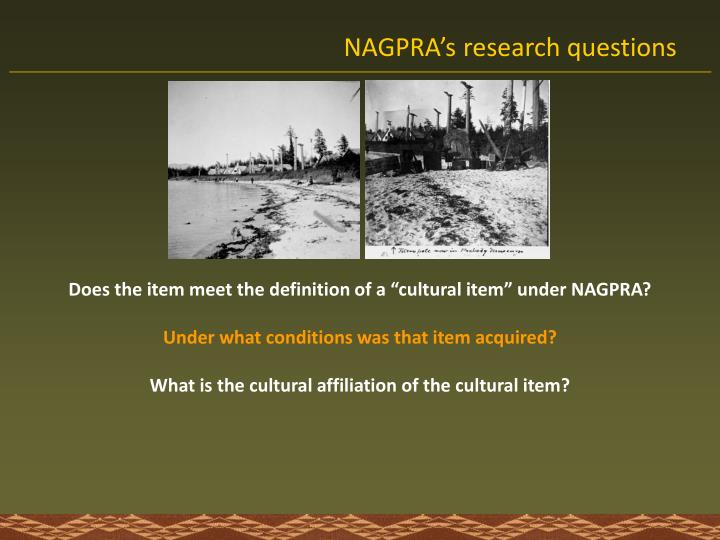 NAGPRA's research questions
