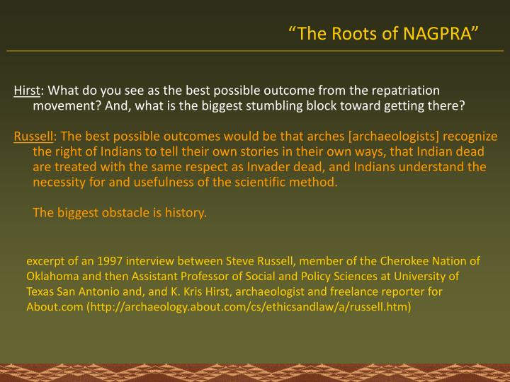 The roots of nagpra