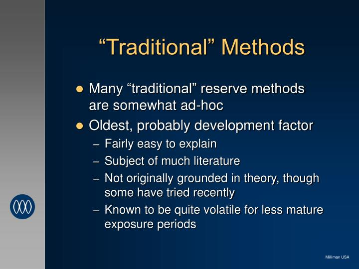 """Traditional"" Methods"
