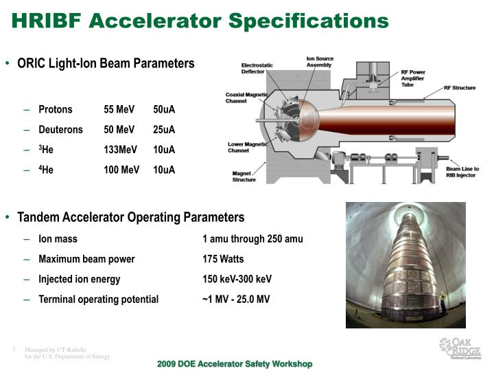 HRIBF Accelerator Specifications