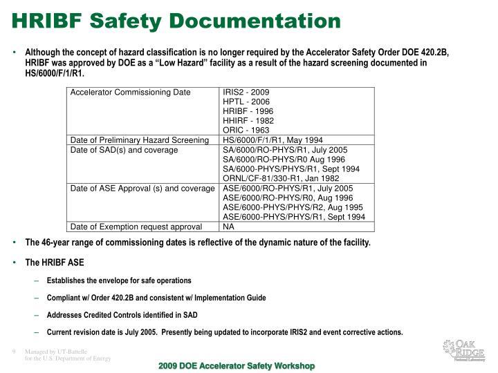 HRIBF Safety Documentation