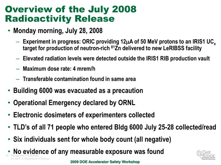 Overview of the July 2008 Radioactivity Release
