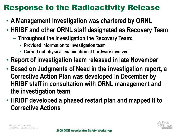 Response to the Radioactivity Release