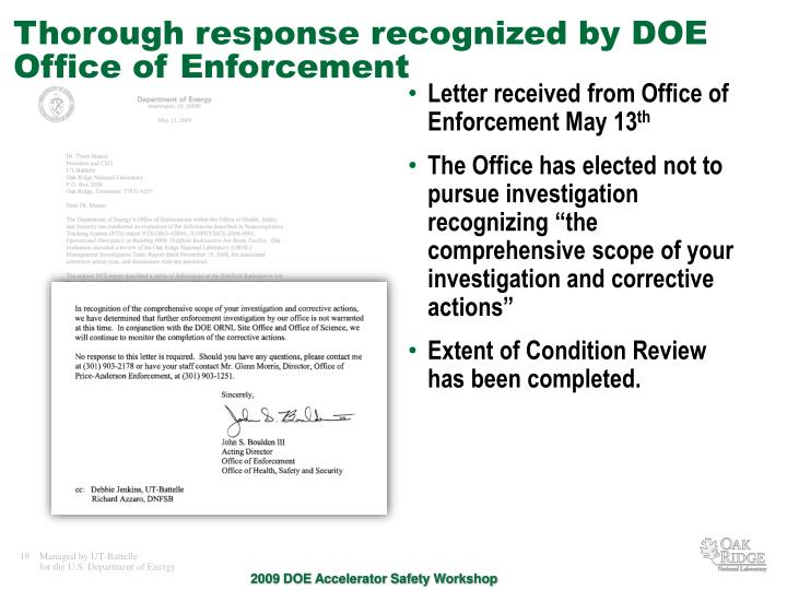 Thorough response recognized by DOE Office of Enforcement