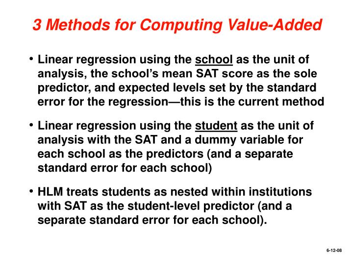 3 Methods for Computing Value-Added