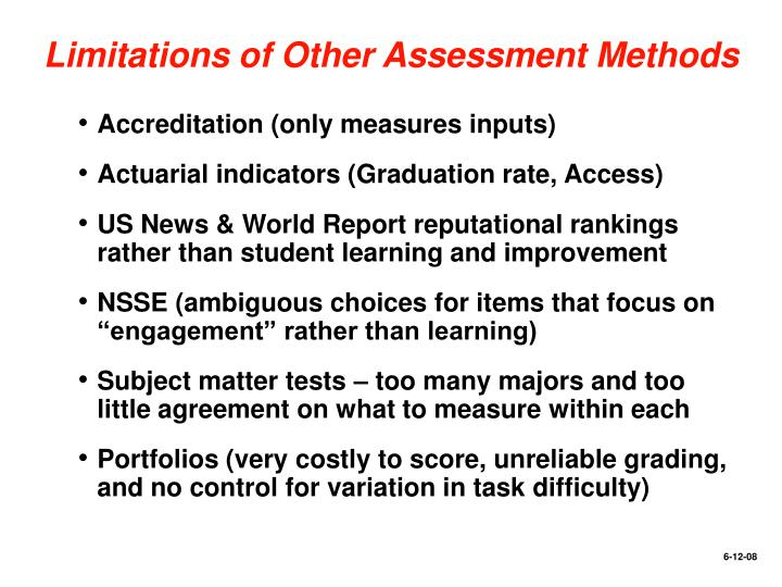 Limitations of Other Assessment Methods
