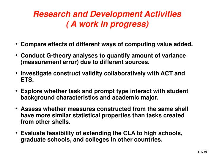 Research and Development Activities