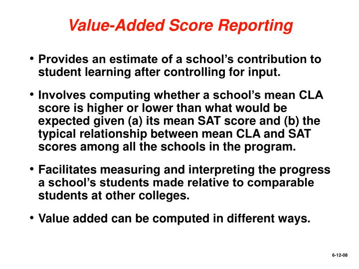Value-Added Score Reporting