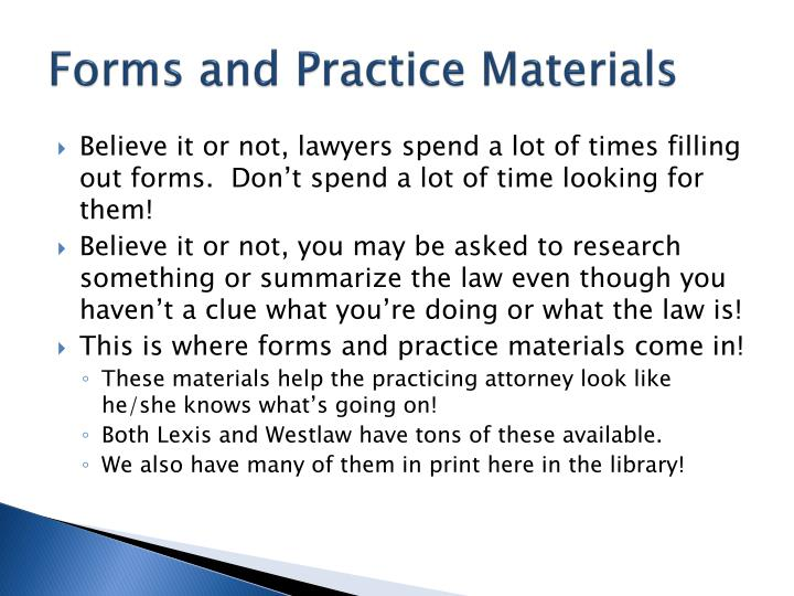 Forms and Practice Materials