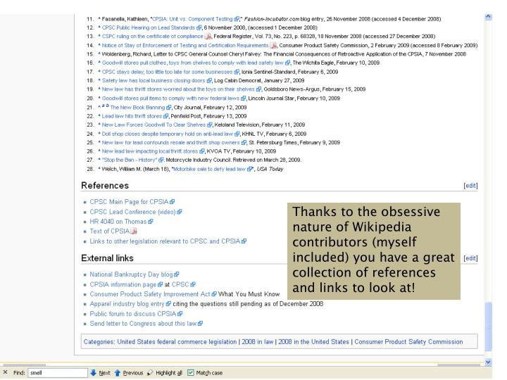 Thanks to the obsessive nature of Wikipedia contributors (myself included) you have a great collection of references and links to look at!