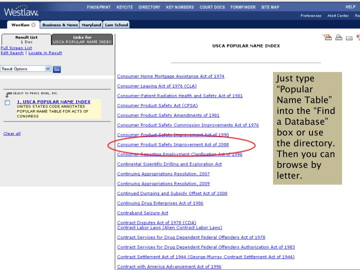 """Just type """"Popular Name Table"""" into the """"Find a Database"""" box or use the directory.  Then you can browse by letter."""
